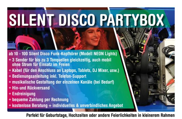 Silent Disco Partybox, Silent Partybox, Original Silent Party Box, Silent Disco, Silent Party leihen, Kopfhörerparty, Silent Disco mieten, Silent Disco Hochzeit, Silent Disco privat, Silent Disco für Zuhause