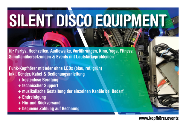 Silent Disco, Kopfhörerparty, Silent Party, Silent Disco Events, Silent Disco mieten, Silent Party Equipment, Silent Disco Equipment, Silent Disco Kopfhörer, Silent Party Kosten, Silent Disco leihen